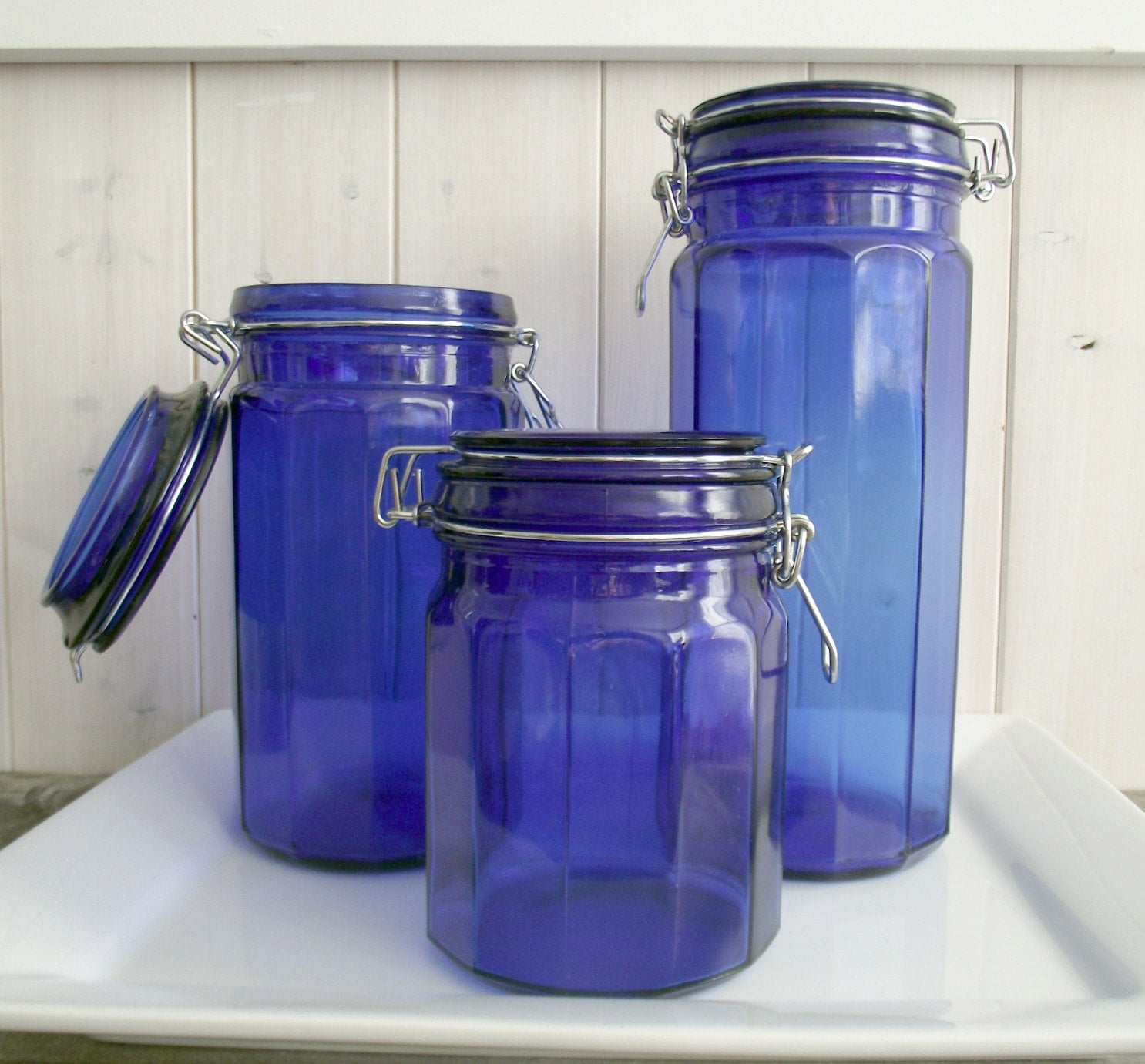 retro cobalt blue glass canisters fiestaware jam jar small canister in cobalt blue