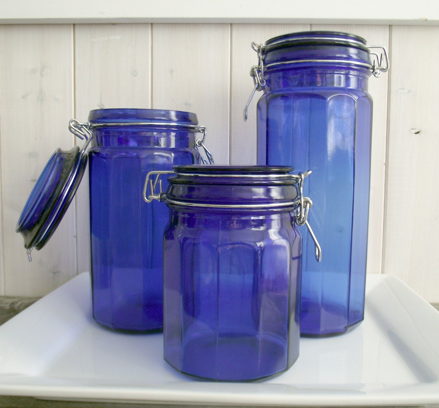 Retro cobalt blue glass canisters - Blue glass kitchen canisters ...