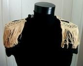 epaulettes, shoulder epaulettes, shoulder accessoires, women,accessoires, fringes, golden fringes, army style, steampunk, victorian