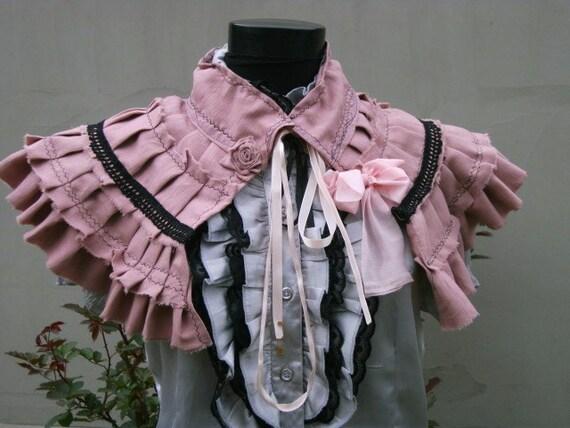 capelet,jane austen,gothic,shawl,steampunk, victorian,vampire, layers and frills, ruffles, shabby chic, dusty rose, victorian,women, fashion