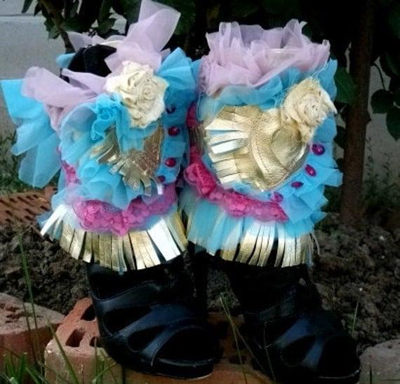 cuffs, marie antoinette, ankle cuffs, spats,burlesque, lolita,spats, shoe accessoires,heart shape, golden,sweet,let them eat cake,fringes