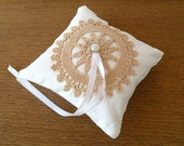Cream linen wedding ring bearer pillow with tea dyed doily - small