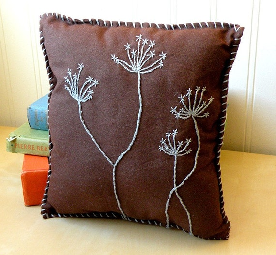 How To Make A Small Decorative Pillow : Items similar to Small brown decorative pillow with gray embroidered Queen Anne s Lace flowers ...