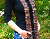 Long Knit Skinny Scarf  - Multicolor Earth Tones
