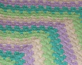 Lilac, cream and green baby granny blanket afghan