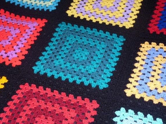 Fun and Colourful Crochet Nine Square Granny Blanket, Granny Square Afghan