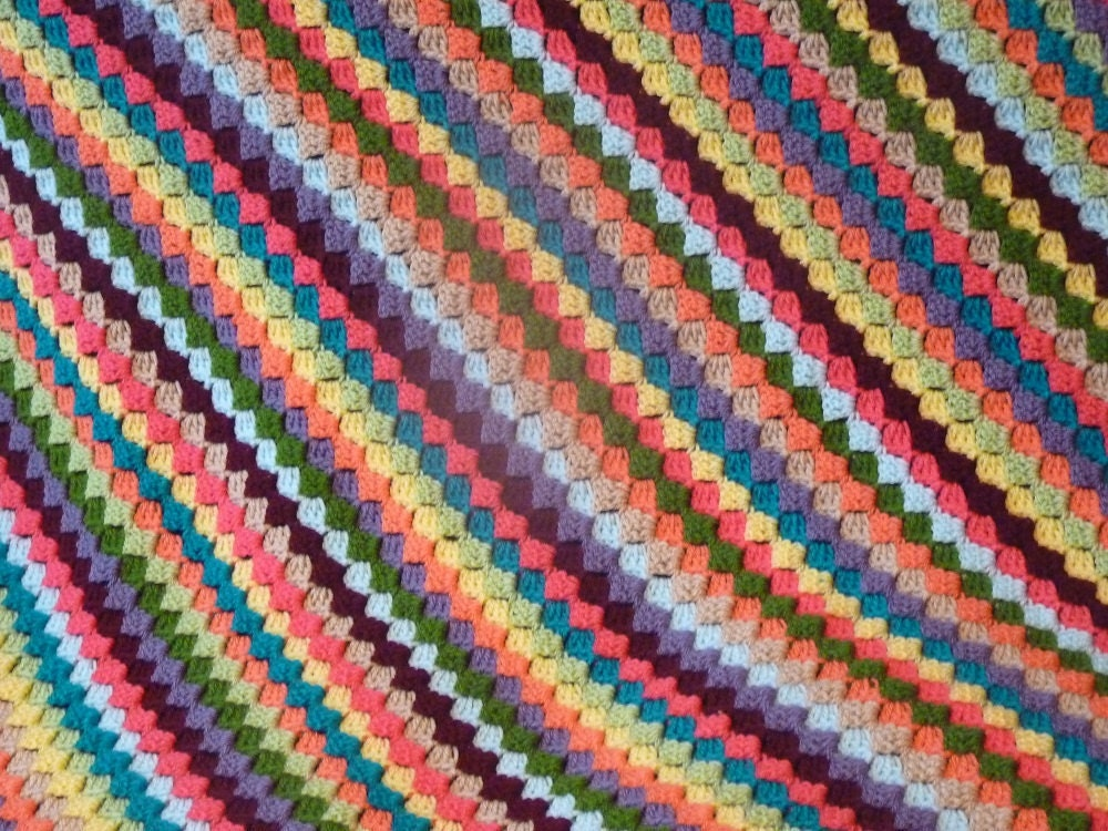 Crochet Pattern Diagonal Afghan : Crochet Afghan Throw Blanket. Diagonal Corner to Corner