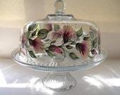Cake dish-painted cake dish-painted punch bowl-hand painted trumpet flowers
