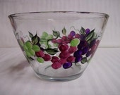 Bowl, hand painted bowl, painted grapes