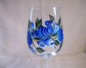 Hand painted wine glass-blue roses