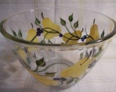 Bowl-Hand painted bowl-large serving bowl-Painted Pears and Blueberries