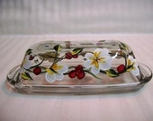 Butter dish, painted butter dish, butter dish with white flowers and red berries, floral design