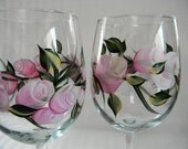 Wine glasses-Hand painted wine glasses-painted pink roses and rosebuds-painted barware