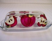 Butter dish-painted butter dish-covered butter dish-painted red apples