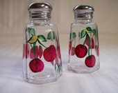 Salt and pepper shakers, painted salt and pepper shakers,hand painted cherries