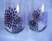 wine glasses, hand  painted wine glasses, decorated wine glasses, painted starburst, wine glasses with starburst