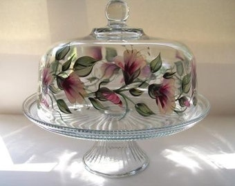 Cake dish , glass Cake dish, covered cake dish, cake stand, painted cake dish, punch bowl