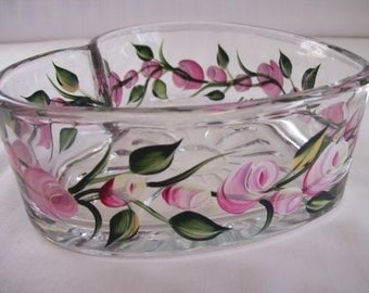 Candy dish-painted candy dish-heart dish-candy dish-painted roses and rosebuds