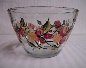 Serving bowl, hand painted bowl, glass bowl, dinnerware, glass serving bowl, fruit bowl, salad bowl, roses and rosebuds