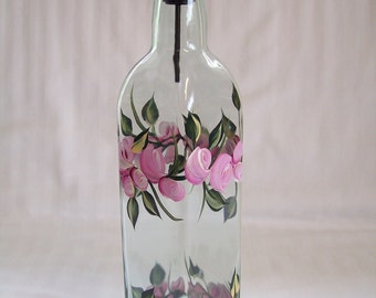 Oil dispenser, oil bottle, oil decanter, glass oil bottle, glass container, oil bottle with roses, oil and vinegar dispenser, kitchen decor