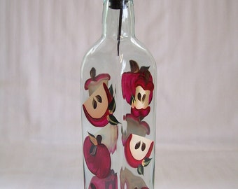Oil bottle-hand painted oil decanter-painted Soap dispenser-hand painted Apples-kitchen decor