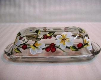 Butter dish,painted butter dish, glass butter dish, covered butter dish,butter dish with white flowers and red berries