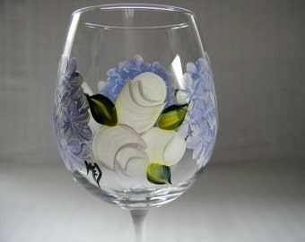 Wine glass-painted Wine glass-painted blue hydrangeas-rosebuds-large wine glass