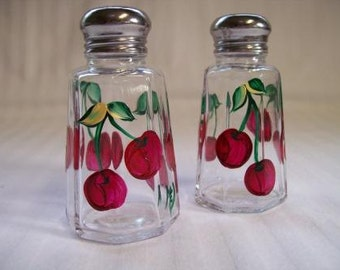 Salt and pepper shakers, hand painted salt and pepper shakers, cherries, painted cherries, red cherries