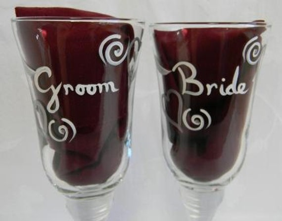 Champagne Flutes hand painted for bride and groom