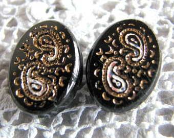 Pair of Antique Impressed Paisley Gold & Black Glass Buttons