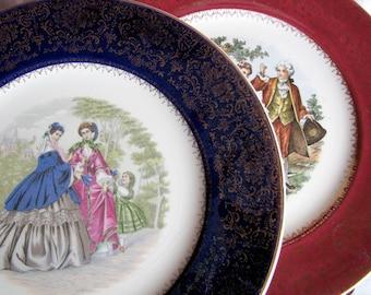 Pair of Vintage Imperial Salem Pictorial  Plates 23k Trim
