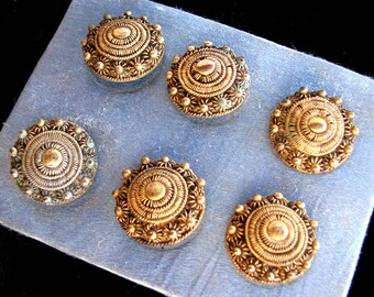Six Antique Brass Filigree Wirework Buttons on Original Card