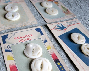 Four Pairs Vintage MOP Buttons on Graphic Cards