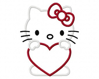 Kitty holding a Heart Embroidery Machine Applique Design 10004