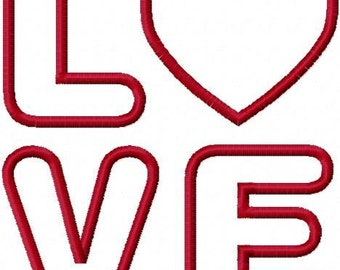 LOVE with a Heart Embroidery Machine Applique Design 10153