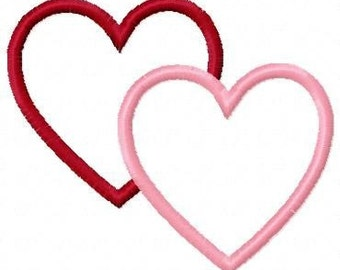 Double Hearts Embroidery Machine Applique Design 10179