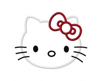 Kitty Cat Face Embroidery Machine Applique Design 10007