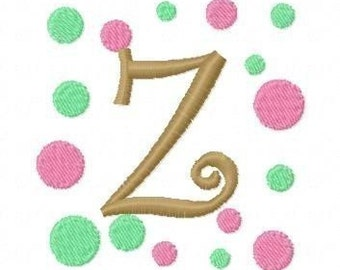 Curlz Polka Dot Embroidery Machine Alphabets Fonts and Monogram Sets 10243