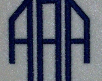 3 Letter Embroidery Machine Monogram  Alphabet  Font Set 10192