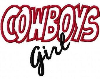 Cowboys Girl Embroidery Machine Applique Design 10385