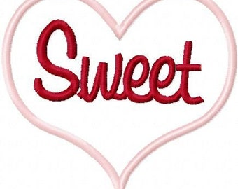 Sweet Heart Embroidery Machine Applique Design 10407