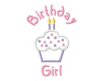 Birthday Girl CupCake 2 Candles Embroidery Machine Applique Design 10481