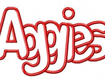 Aggies Embroidery Machine Applique Design 15073