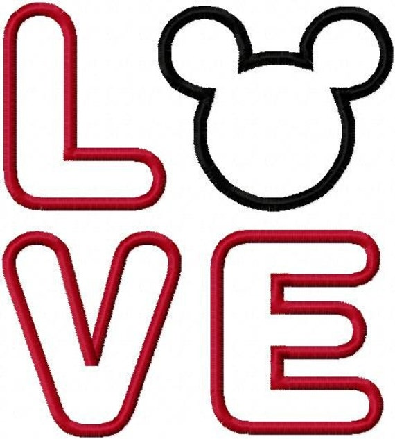 LOVE with Mouse Ears Embroidery Machine Applique Design 10152