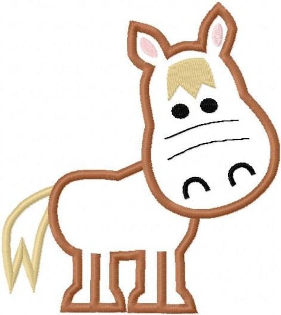 Horse embroidery machine applique design