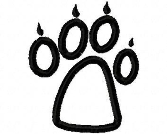 Wolf Paw Print Embroidery Machine Applique Design 10260