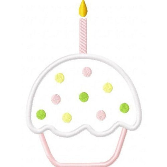 Birthday CupCake Embroidery Machine Applique Design 10106