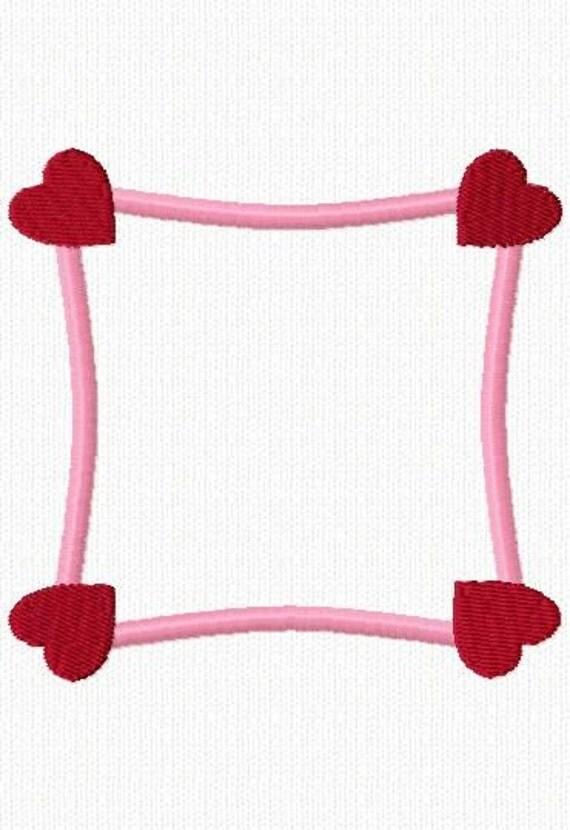 Heart Embroidery Machine Applique Alphabet Frame Design 10432