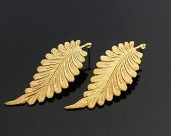 distinctive matte gold plated leaf earrings