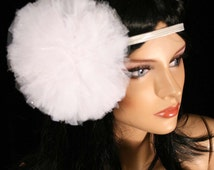 White Ice fairy tutu tulle hair bow pom pom perfect for children and adults -- Enchanted